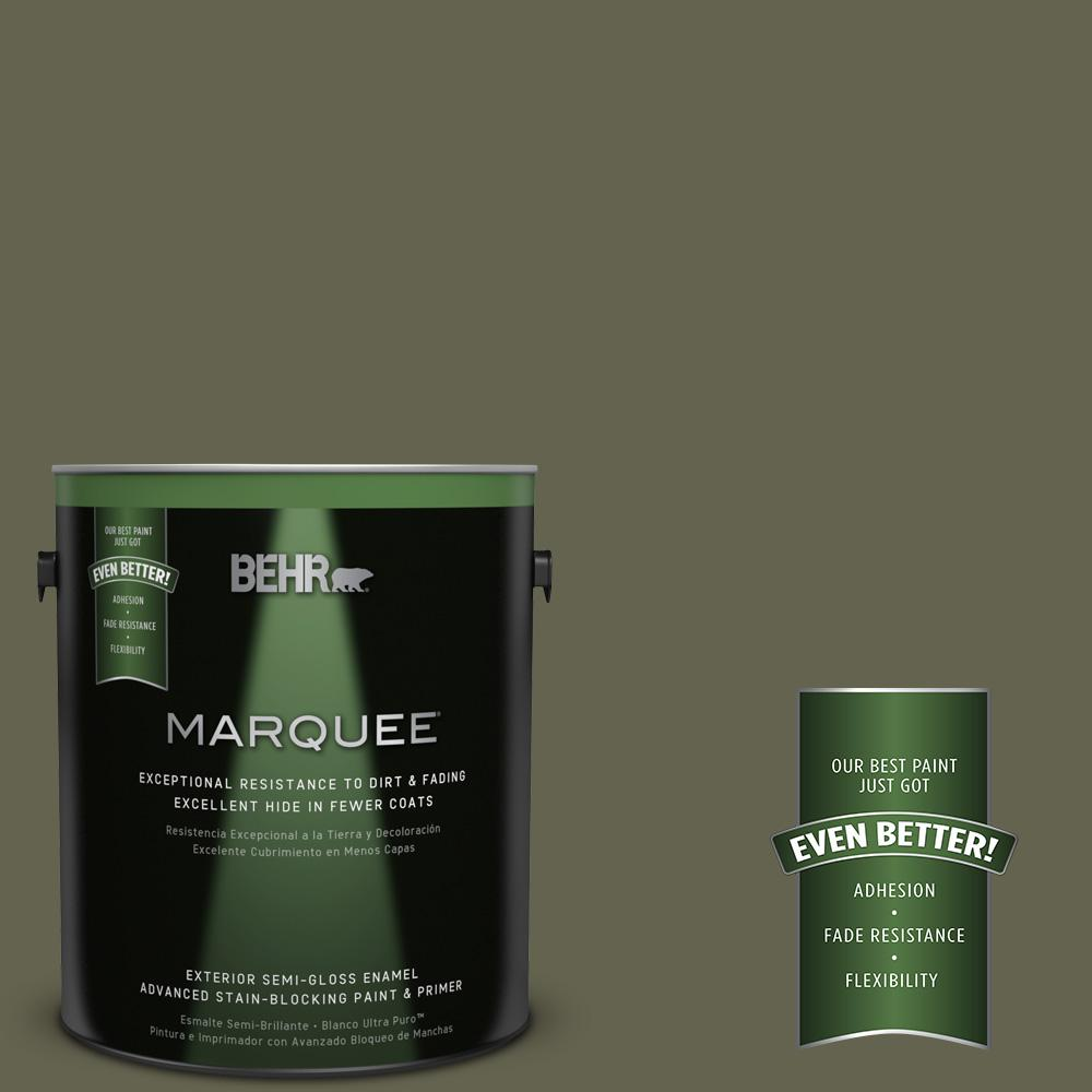 BEHR MARQUEE 1-gal. #N350-7 Russian Olive Semi-Gloss Enamel Exterior Paint