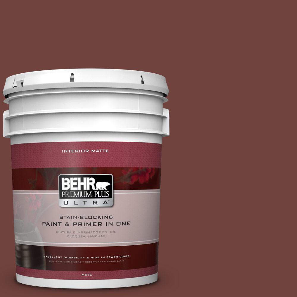 BEHR Premium Plus Ultra 5 gal. #160F-7 Burnished Mahogany Flat/Matte Interior Paint