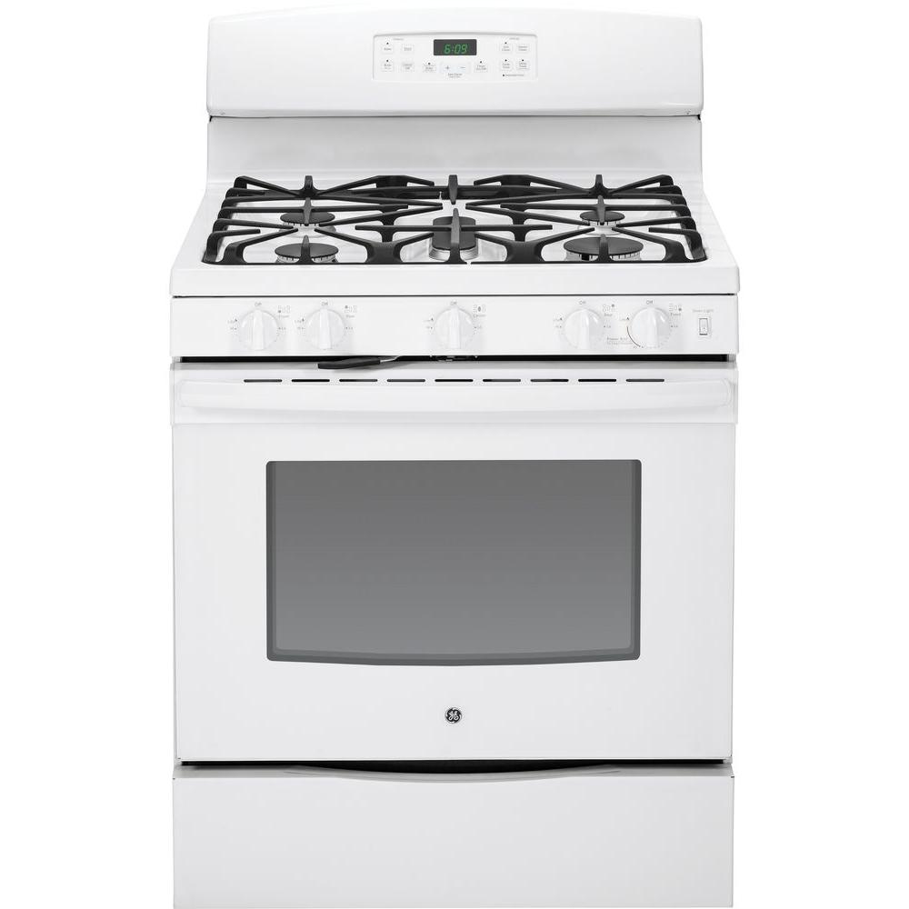 GE 5.0 cu. ft. Gas Range with Self-Cleaning Convection Oven in White
