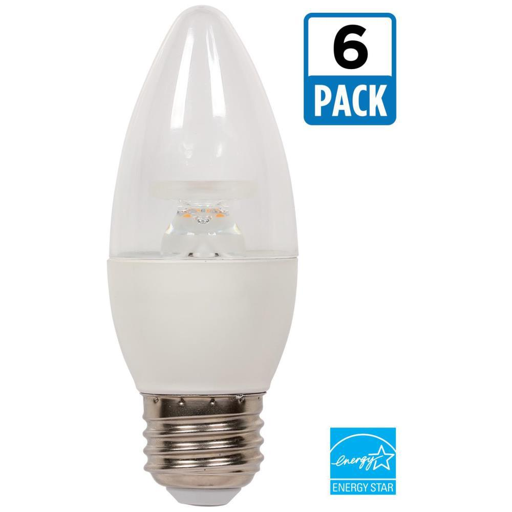 60W Equivalent Warm White B13 Dimmable LED Light Bulb (6-Pack)