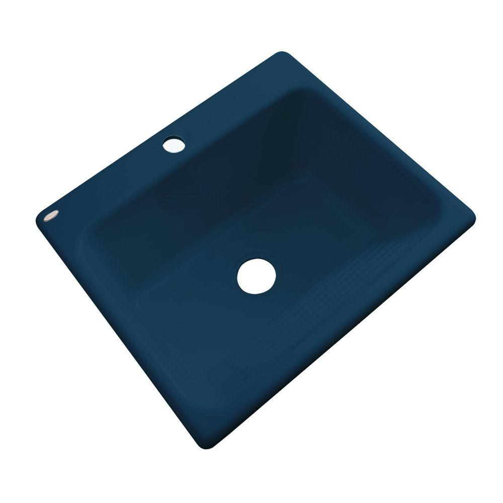 Thermocast Kensington Undermount Acrylic 25 in. Single Bowl Utility Sink in Navy Blue