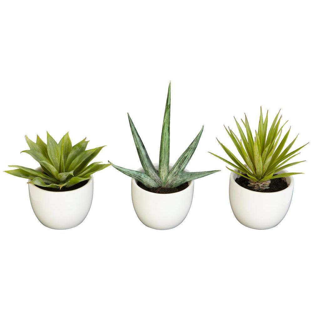Nearly Natural 8.5 in. H Green Southwest Collection (Set of 3)
