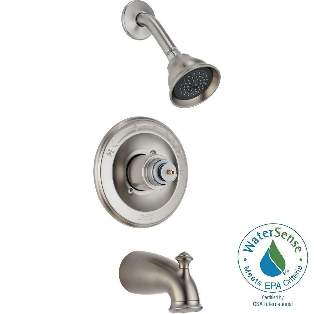 delta leland 1 handle 1 spray tub and shower faucet trim kit in