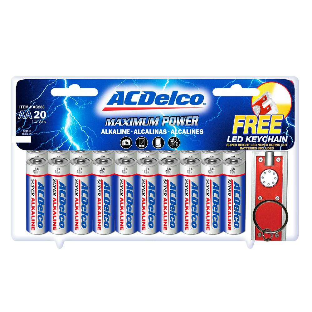 null 20 of AA ACDelco Alkaline Batteries with Free Keychain