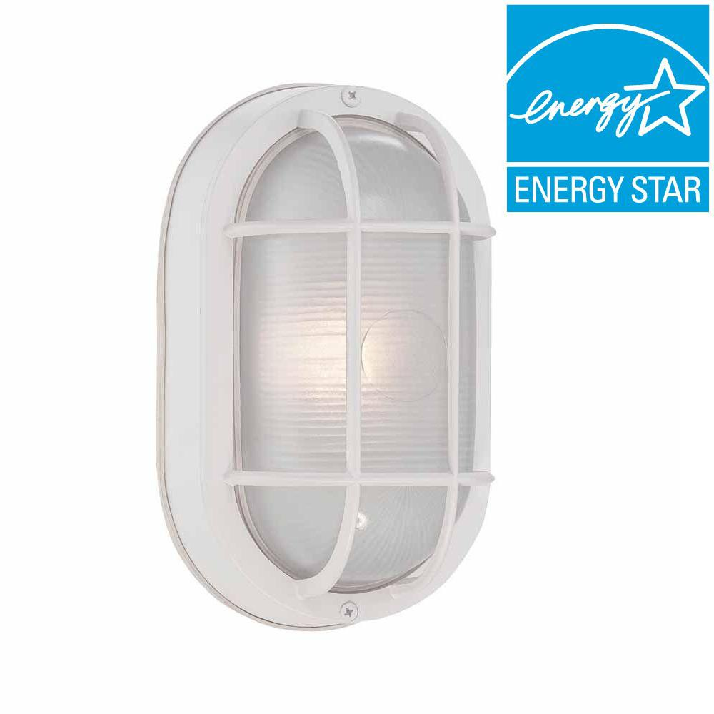 Hampton Bay White Outdoor LED Wall Lantern-HB8822LED-06 - The Home ...