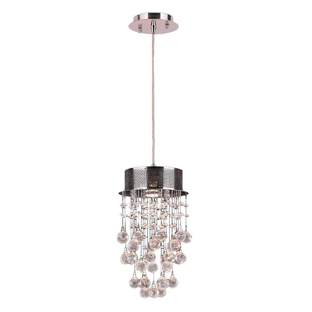 Worldwide Lighting Icicle 1-Light Chrome and Clear Crystal Pendant