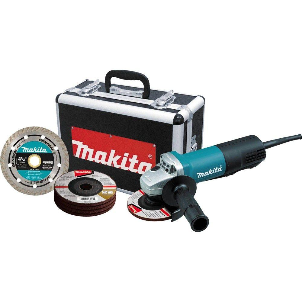 Makita 7.5 Amp 4-1/2 in. Corded Paddle Switch Grinder with Aluminum Case, Diamond Blade and Grinding Wheels