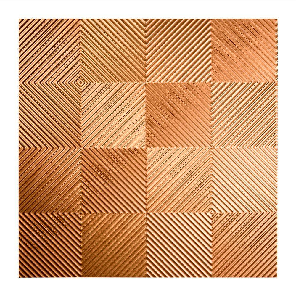 Fasade Quattro - 2 ft. x 2 ft. Lay-in Ceiling Tile in Polished Copper