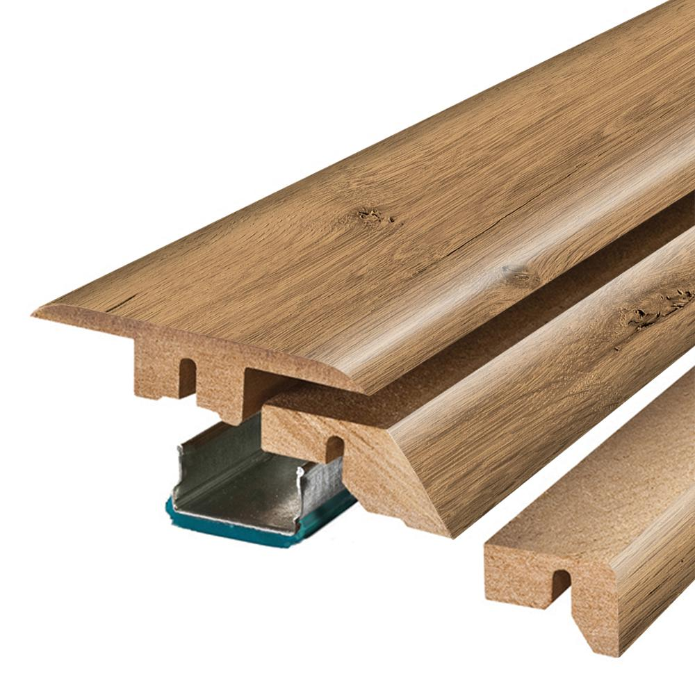 Pergo Riverbend Oak 3/4 in. Thick x 2-1/8 in. Wide x 78-3/4 in. Length Laminate 4- in-1 Molding, Light