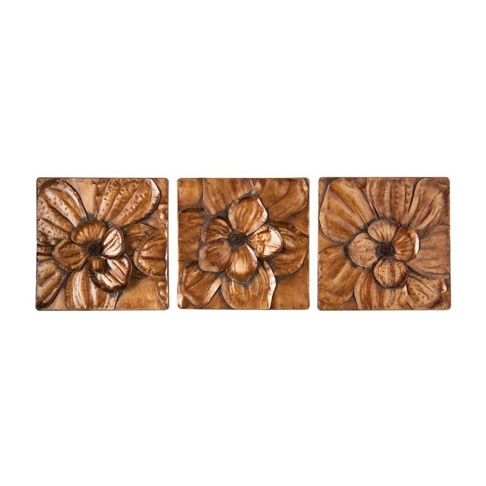 Gold Metal Wall Decor southern enterprises 10 in. x 10 in. magnolia wall 3-piece metal