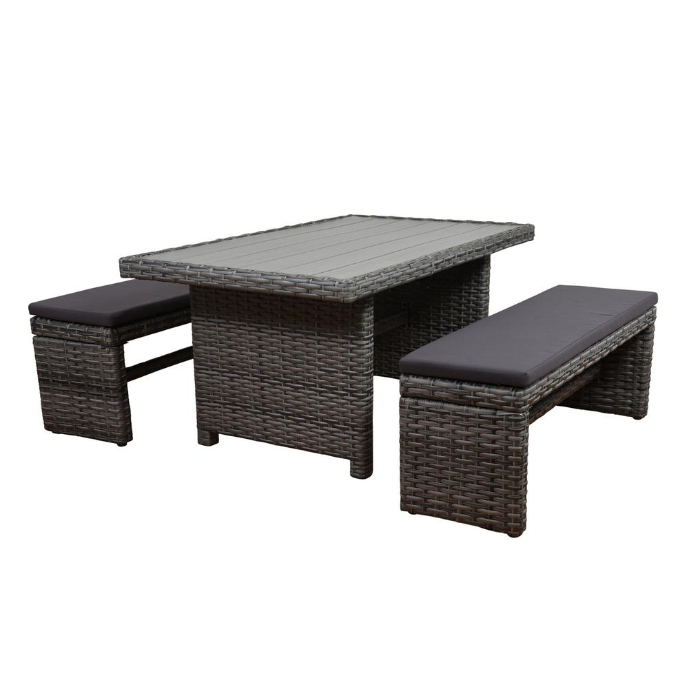 Atlantic Mustang 3-Piece Synthetic Wicker Patio Dining Set with Grey Cushions