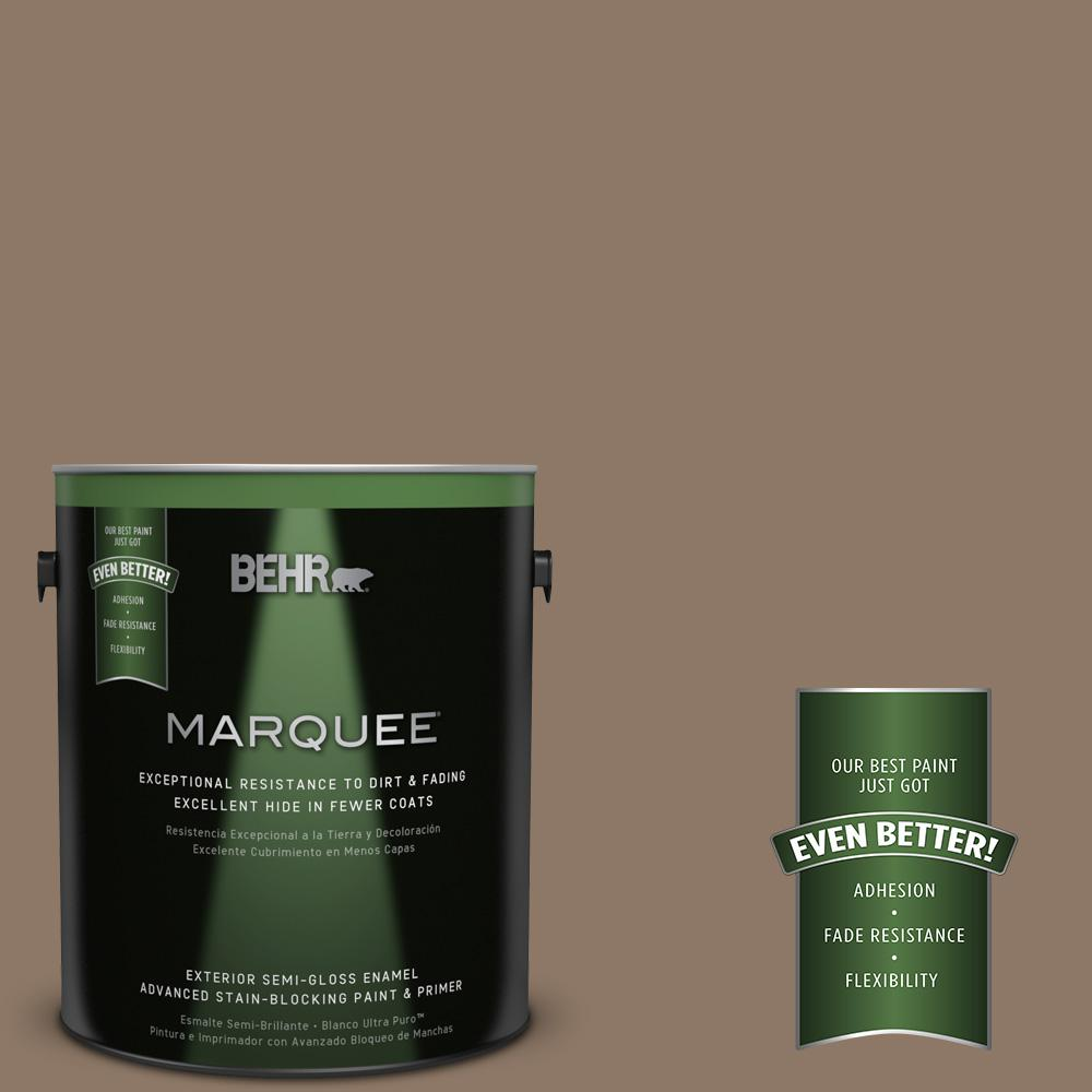 BEHR MARQUEE 1-gal. #PPU5-5 Coconut Shell Semi-Gloss Enamel Exterior Paint