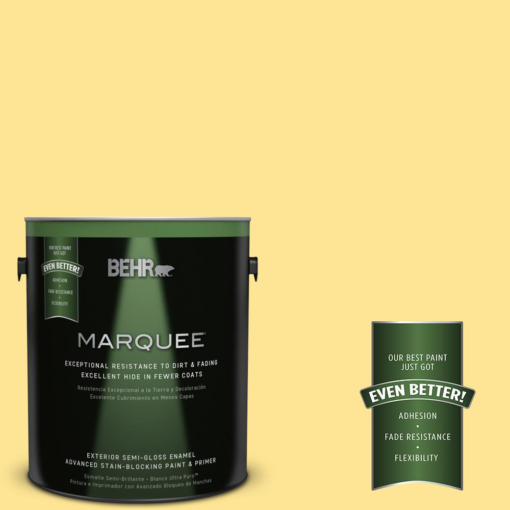 BEHR MARQUEE 1-gal. #390B-4 Chilled Lemonade Semi-Gloss Enamel Exterior Paint