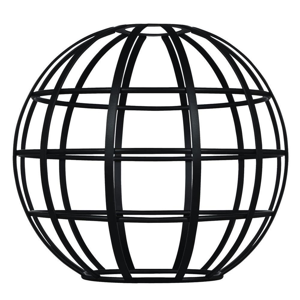 Westinghouse 7 in. Matte Black Globe Cage Shade with 2-1/4 in. Fitter and 8 in. Width