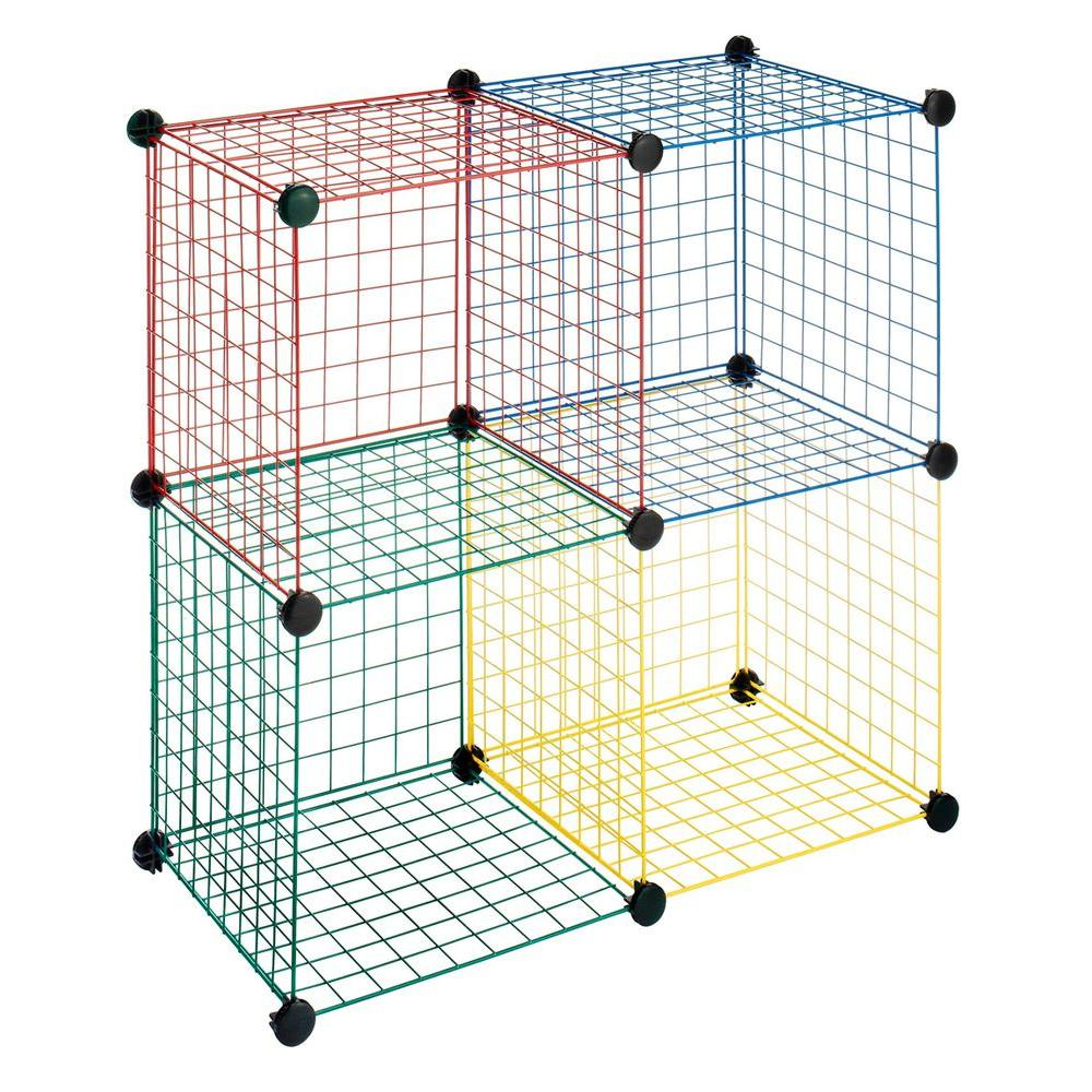 Whitmor 14.50 in. x 14.50 in. Multi Colored 4-Cube Storage-DISCONTINUED