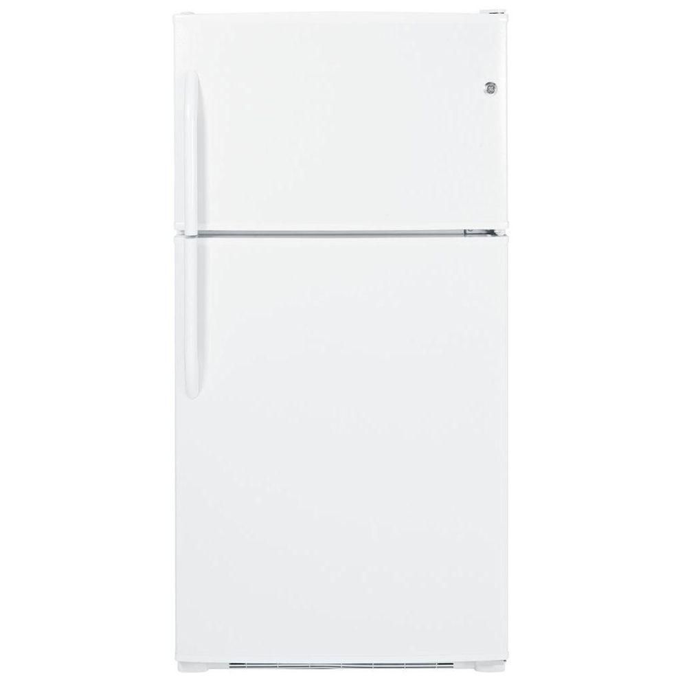 GE 33 in. W 21.0 cu. ft. Top Freezer Refrigerator in White