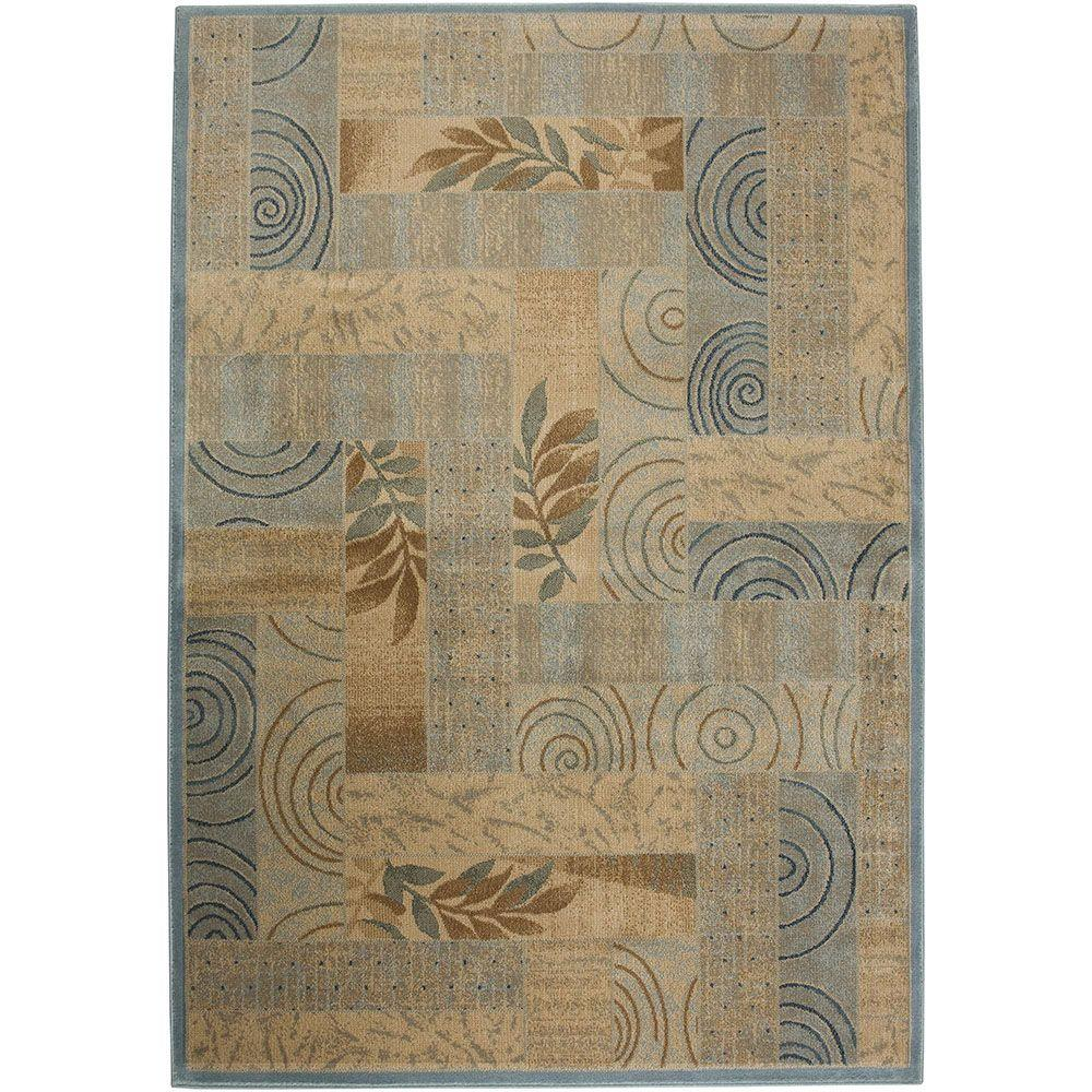 Rizzy Home Bellevue Collection Beige Swirl 3 ft. 3 in. x 5 ft. 3 in. Area Rug