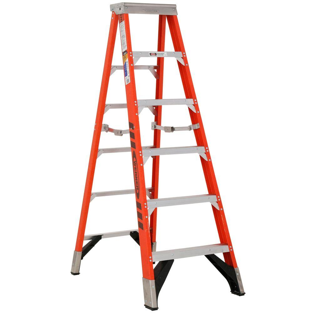 Werner 6 ft. Fiberglass Step Ladder with 375 lb. Load Capacity