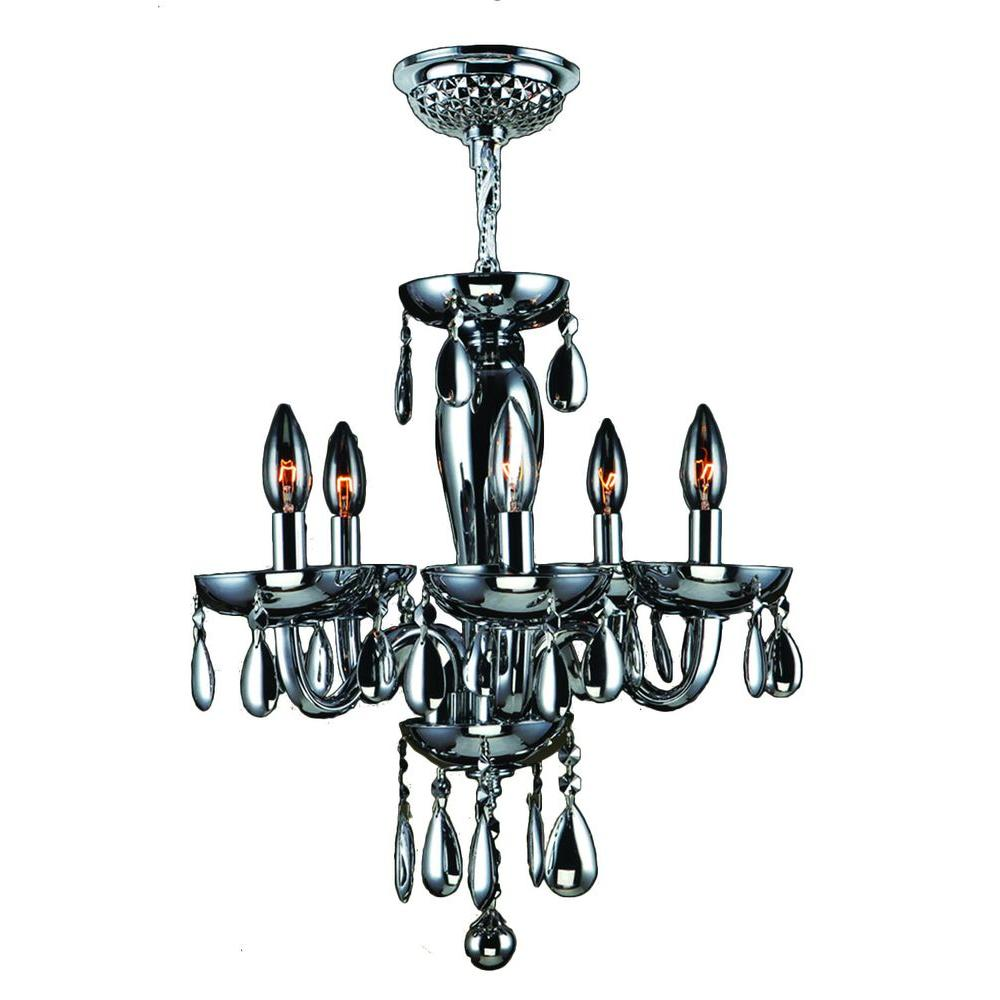 Worldwide Lighting Gatsby 5-Light Chrome Chandelier with Smoke Blown