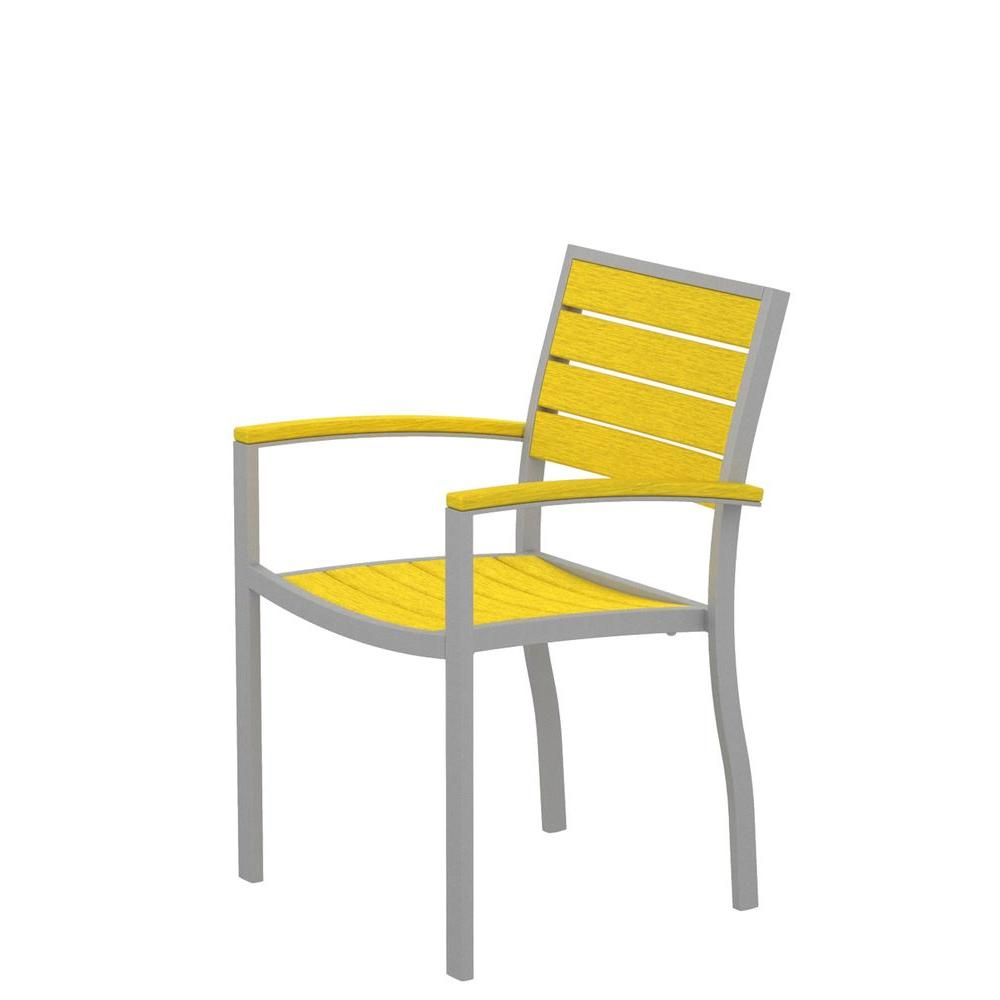 Euro Textured Silver Patio Dining Arm Chair with Lemon Slats