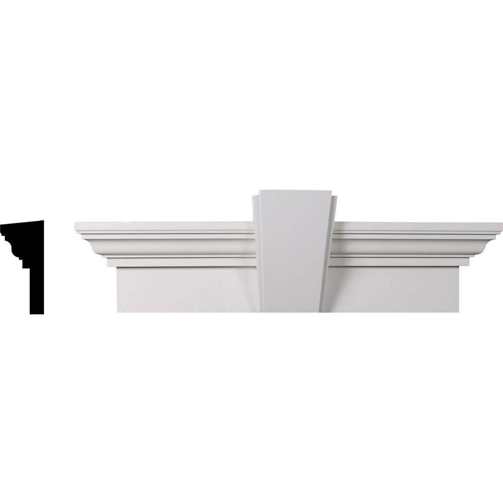 1 in. x 144 in. x 9 in. Polyurethane Crosshead Moulding with Deco Keystone