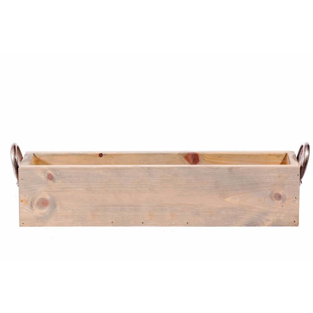 24 in. x 6 in. Rusty Handles Solid Wood Gray Planter