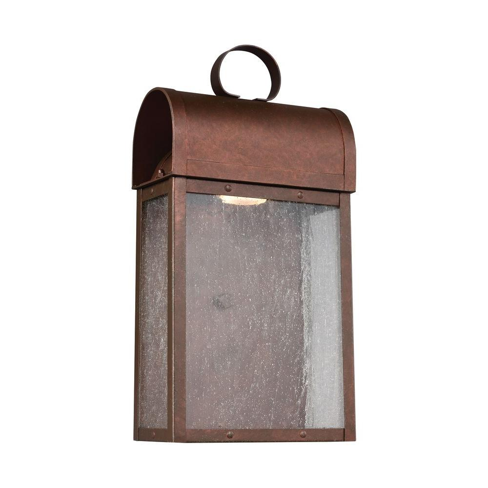 Sea Gull Lighting Conroe 1-Light Weathered Copper Wall Lantern-8614891S-44 - The