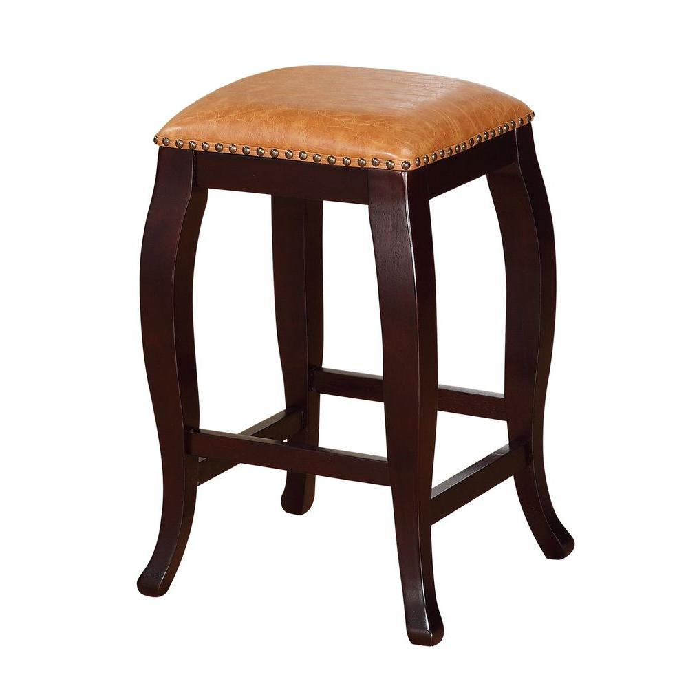 San Francisco Square Top Rubberwood PU Counter Stool in Caramel Wenge