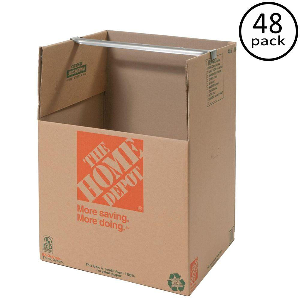 The Home Depot 24 in. x 24 in. x 34 in. Wardrobe Box with Bar (48-Pieces)