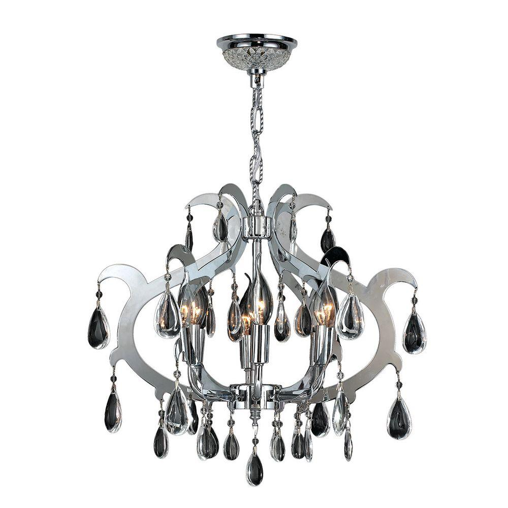 Henna Collection 6-Light Chrome Chandelier with Clear Crystal