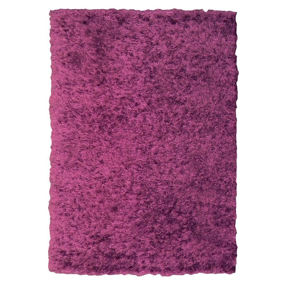 DonnieAnn Jazzy Shag Design Hand Knotted Purple 5 ft. x 6 ft. 10 in. Indoor Area Rug