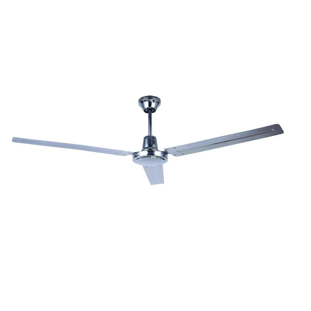 56 in. Indoor Chrome Industrial Fan with 3 Metal Blades and