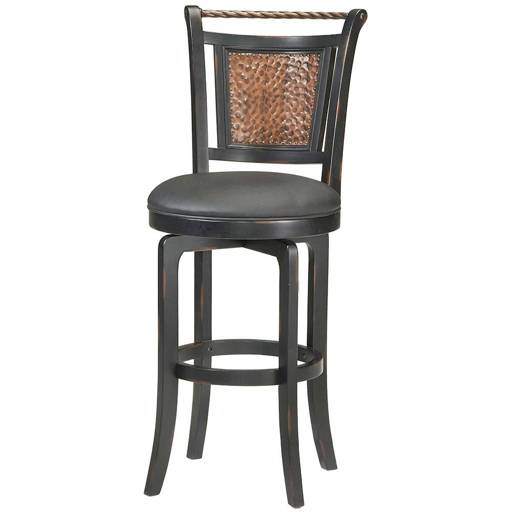 Carolina cottage 30 in berkshire bar stool in chestnut black 2030chetbk the home depot Home depot wood bar stools