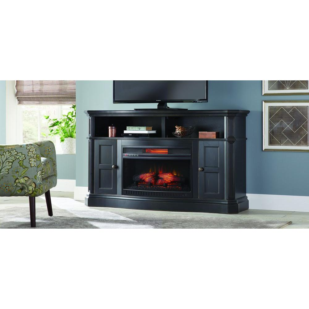 Home Decorators Collection Glenrae 58 In Media Bow Front Console Infrared Electric Fireplace In