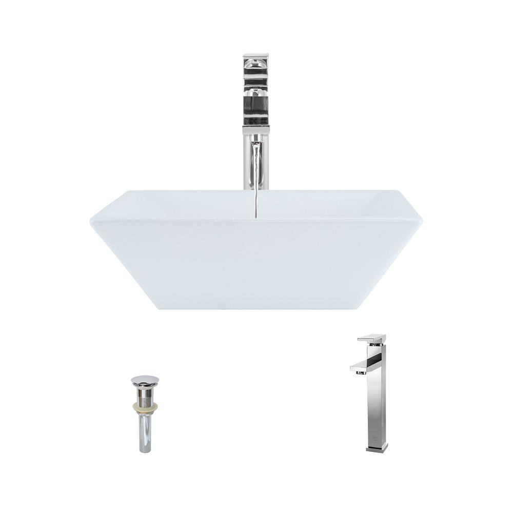 Porcelain Vessel Sink in White with 721 Faucet and Pop-Up Drain