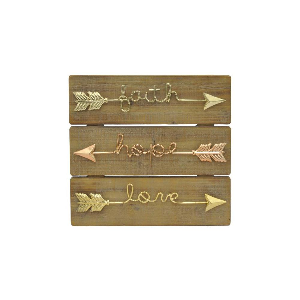 Arrow Words Multicolor Metal and Wood Wall Sculpture