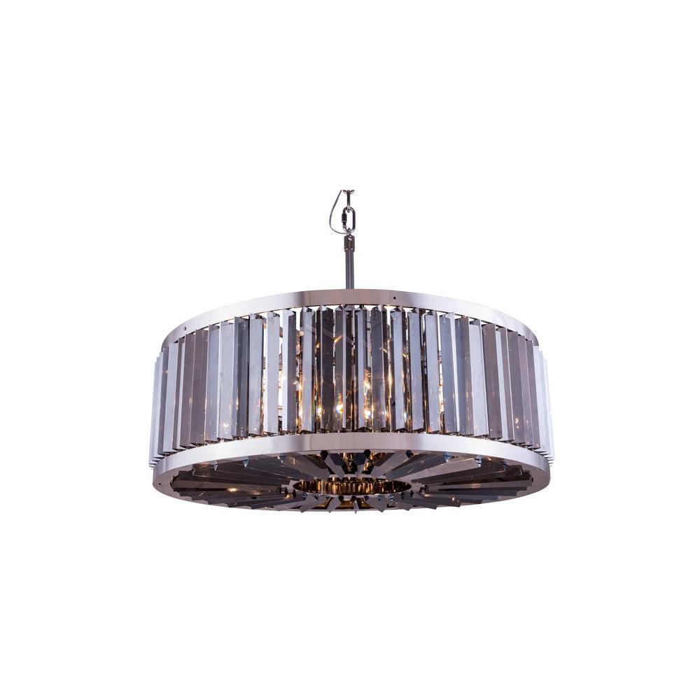 Chelsea 10-Light Polished Nickel Chandelier with Silver Shade Grey Crystal