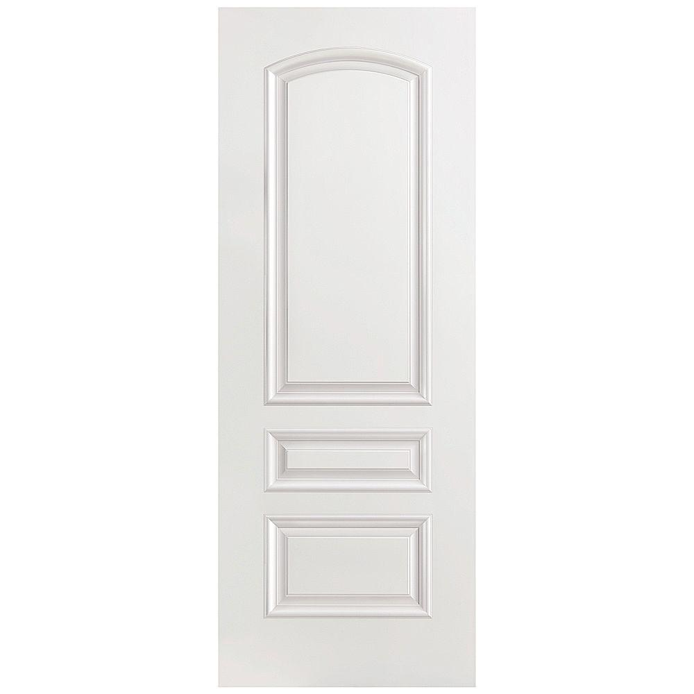 24 in. x 80 in. Palazzo Treviso Smooth 3-Panel Round Top Solid Core Primed Composite Single Prehung Interior Door