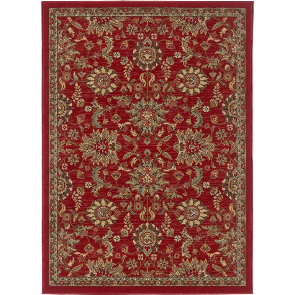 Tayse Rugs Laguna Red 5 ft. x 7 ft. Transitional Area Rug