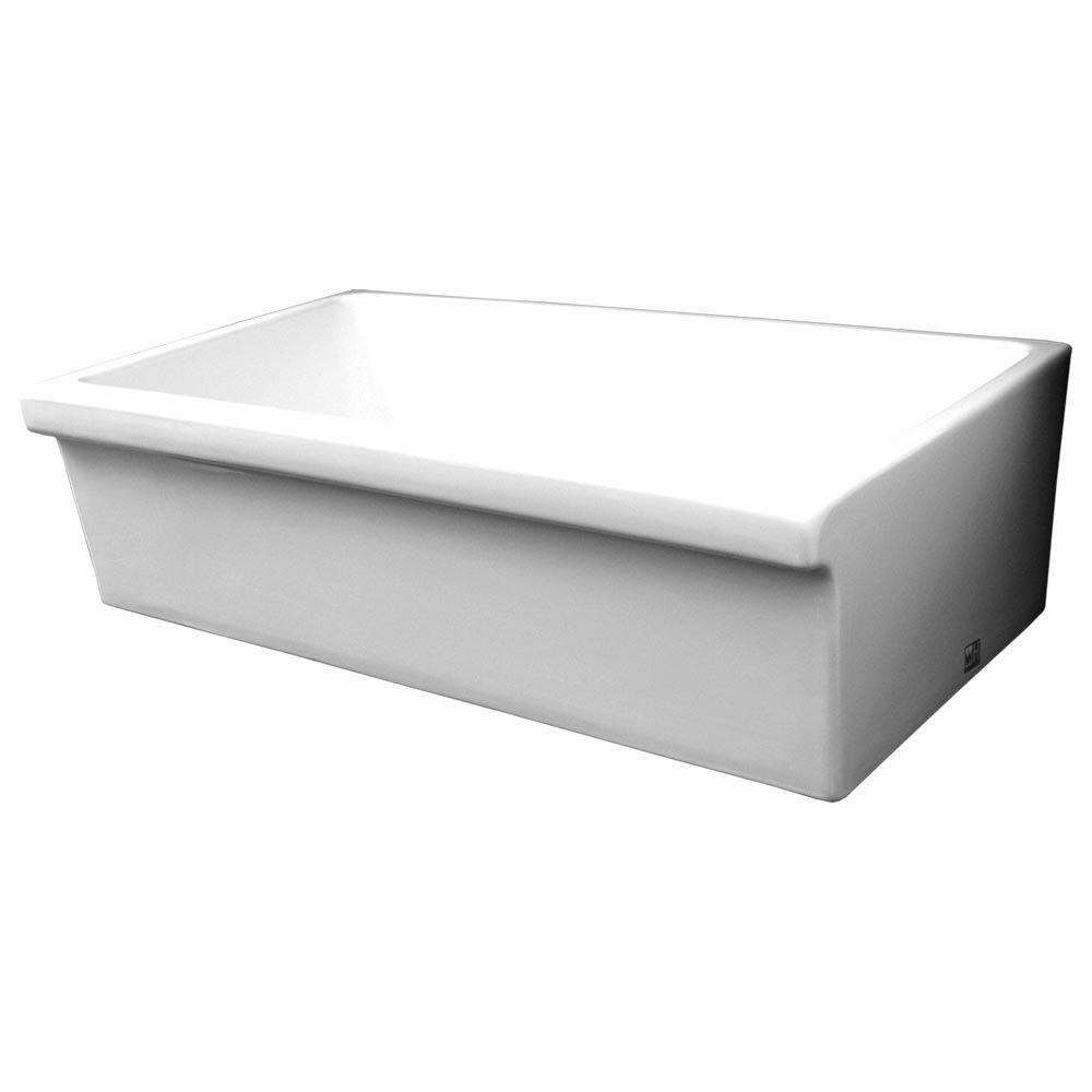 Single Bowl Apron Sink : ... Farmhaus Apron Front Fireclay 36 in. Single Bowl Kitchen Sink in White