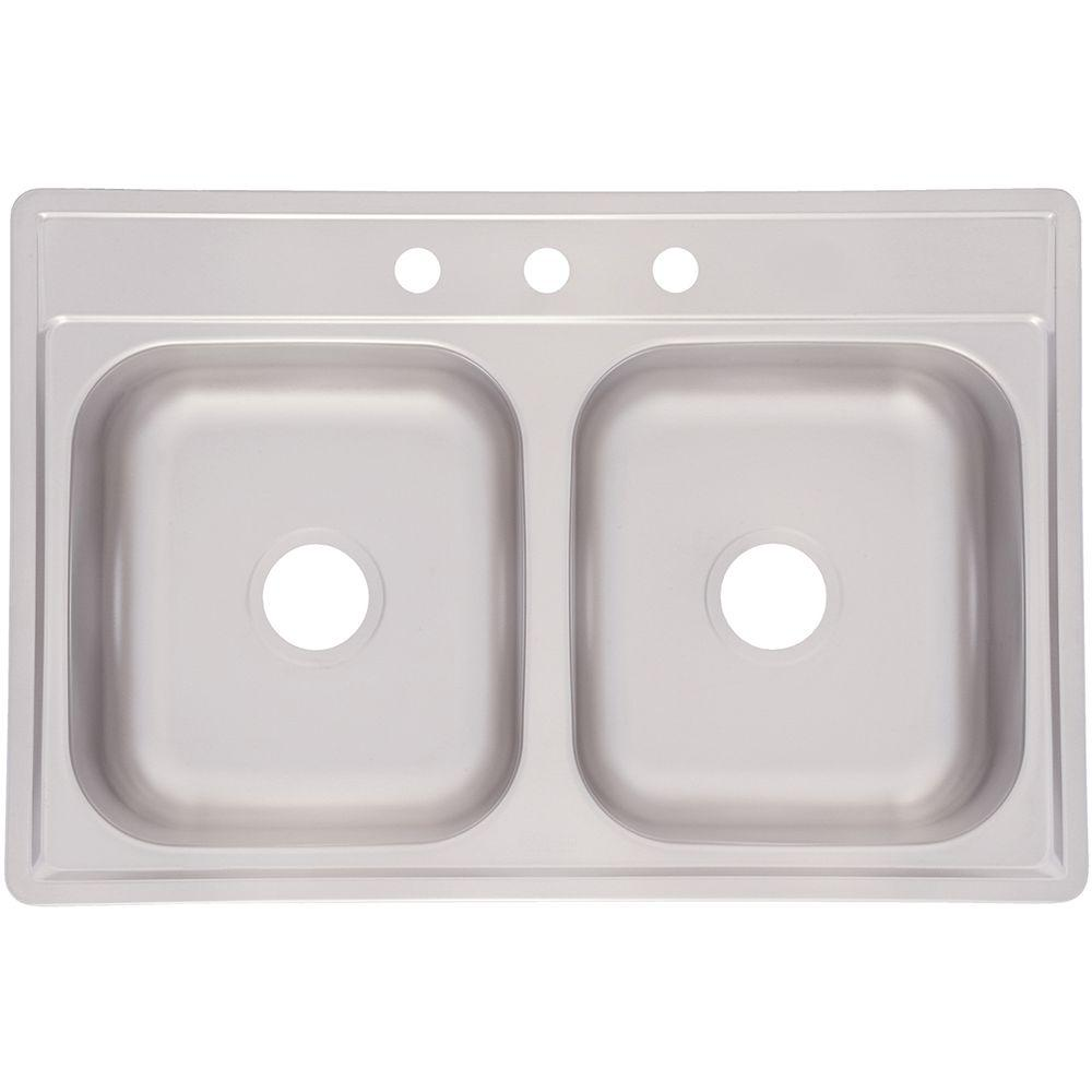 Top Mount Stainless Steel 33x22x6 3 Hole Double
