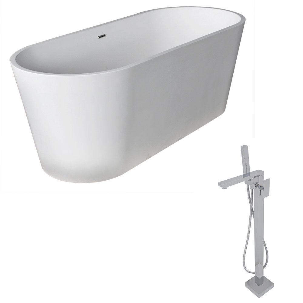 Rossetto 5.6 ft. Man-Made Stone Classic Flatbottom Non-Whirlpool Bathtub in