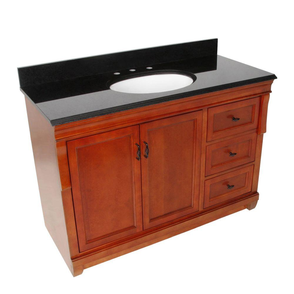 Foremost Naples 49 in. W x 22 in. D Vanity with Right Drawers in Warm Cinnamon with Granite Top in Black with White Basin