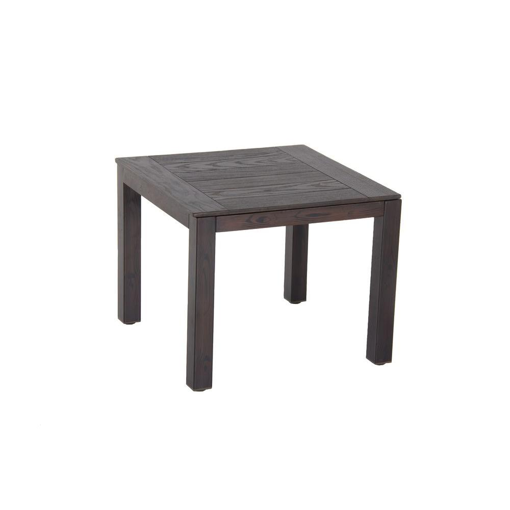 Hampton Bay Walnut Creek 20 in. Square Patio Side Table-DISCONTINUED