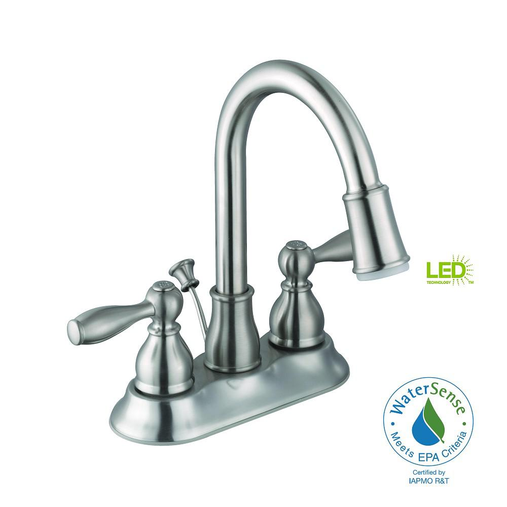 Features  LED Lighted  Compare  Mandouri 4 in  Centerset 2 Handle LED  High Arc Bathroom Faucet in Brushed. LED Lighted   Bathroom Sink Faucets   Bath Faucets   Showerheads