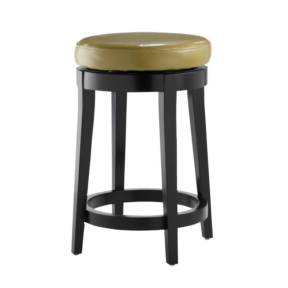 Home Decorators Collection Non-Tufted Leather 24 in. H Green Backless Swivel Bar Stool