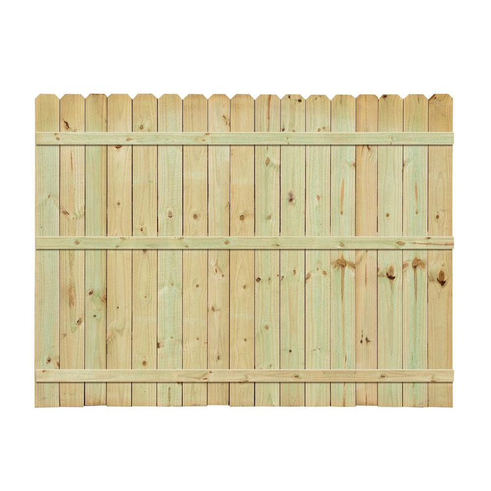 6 Ft H X 8 Ft W Pressure Treated 4 In Moulded Stockade Fence Panel 73000412 The Home Depot