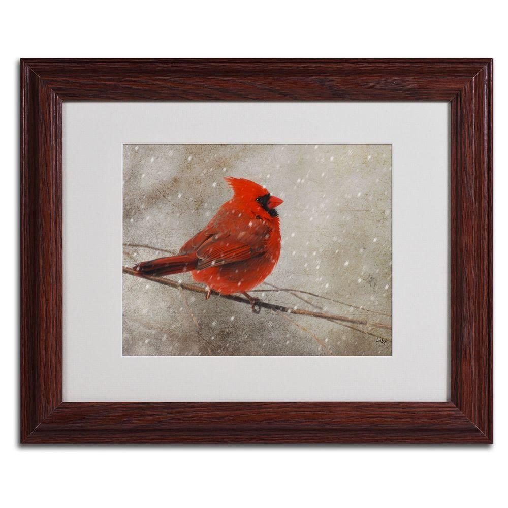 null 11 in. x 14 in. Cardinal in Winter Matted Framed Art
