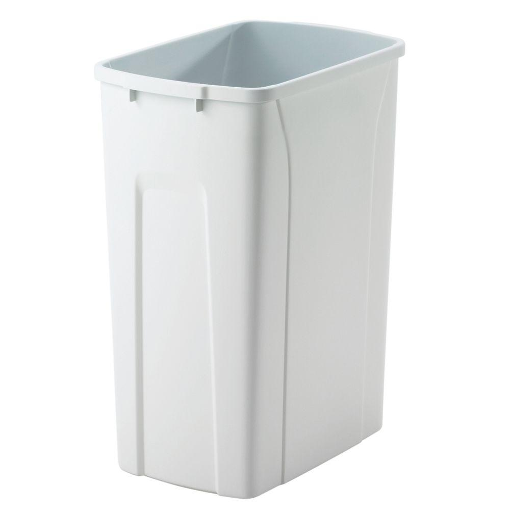 Knape & Vogt 18 in. H x 14 in. W x 9 in. D Plastic 35 Qt. Replacement Pull Out Trash Can in White