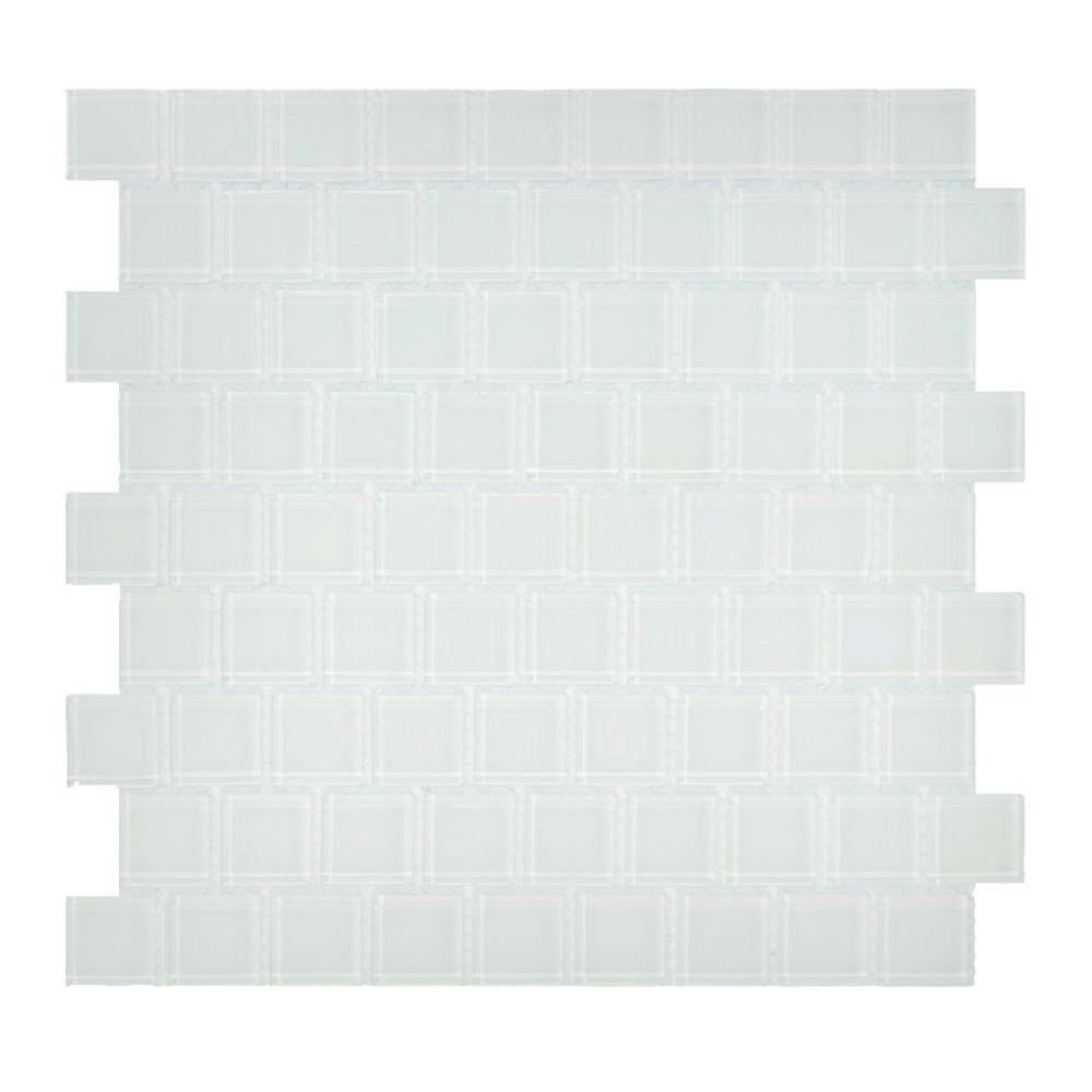 Jeffrey Court 1 in. x 1 in. Dew Pointe Offset 12 in. x 12 in. Glass Wall Tile-DISCONTINUED